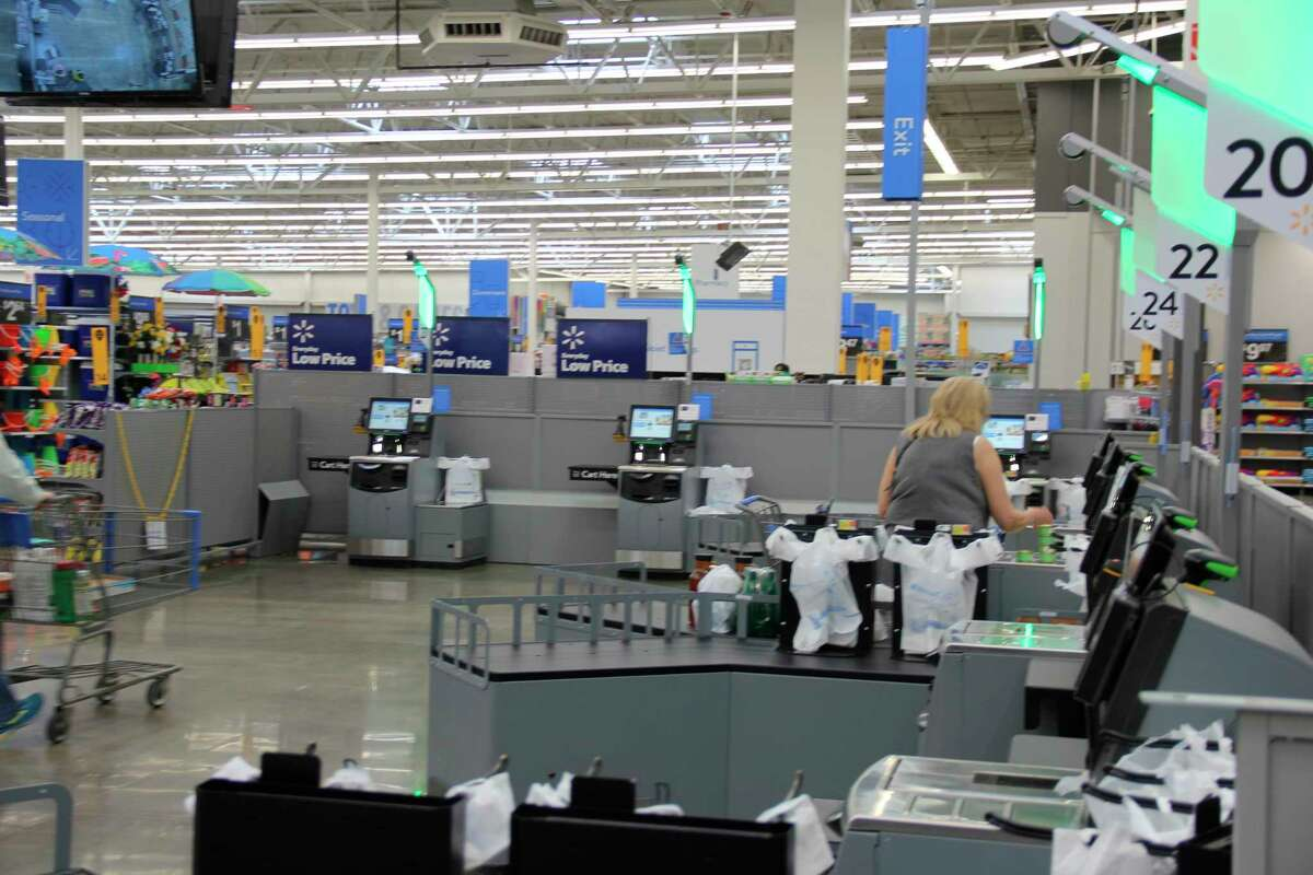 The expended self check-out area at the Bad Axe Walmart Superstore. (Robert Creenan/Huron Daily Tribune)