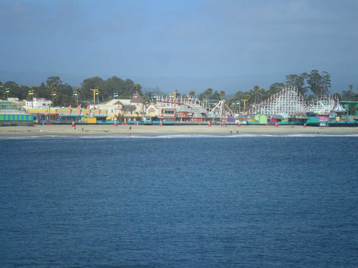 The Santa Cruz Beach Boardwalk fronts the Santa Cruz Main Beach.