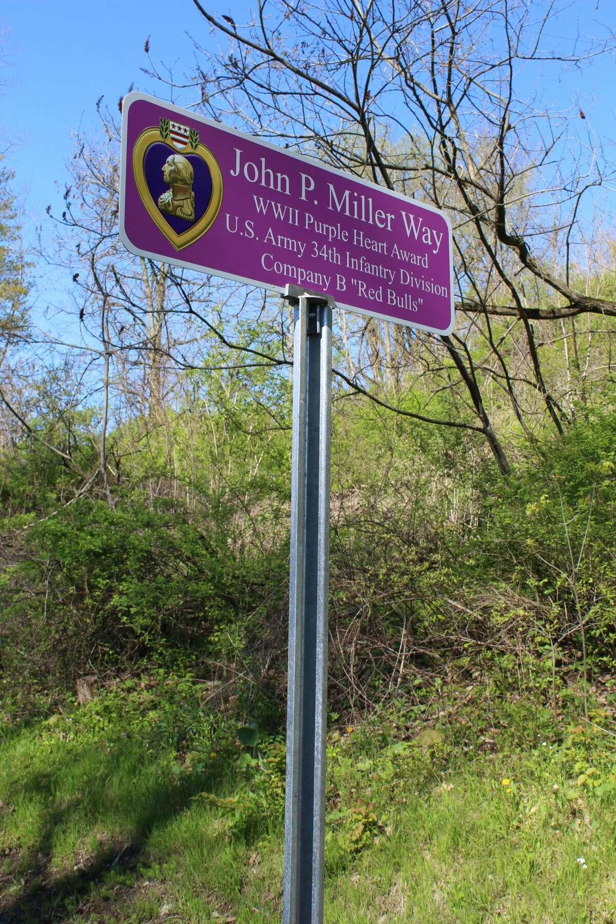 John P. Miller Way sign