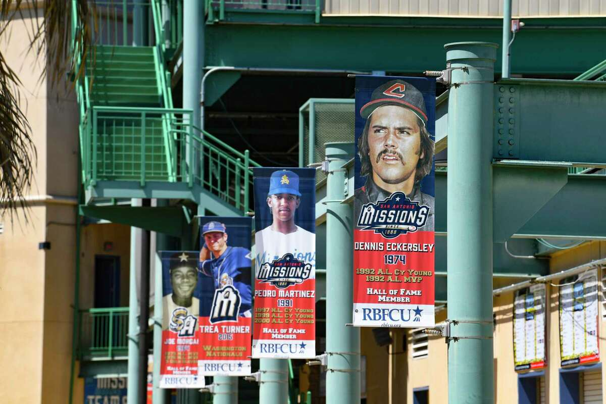 Banners at Wolff Stadium display the faces and deeds of former San Antonio Missions players who went on to great careers in Major League Basaball on Friday, May 7, 2021.