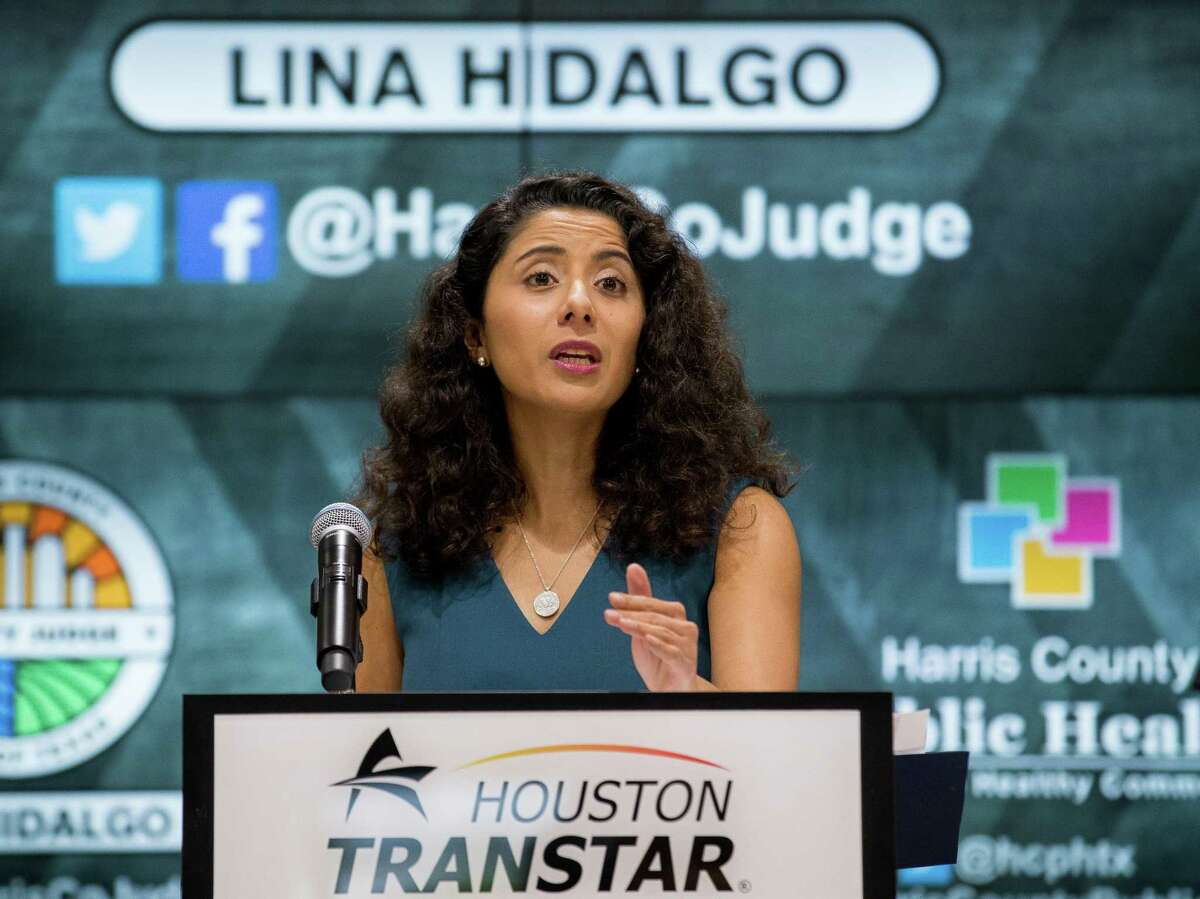 Harris County Judge Lina Hidalgo talks during a press conference to announce the recent COVID-19 trends and provide an update on the county's threat level, at Houston TranStar building on Tuesday, May 18, 2021, in Houston.