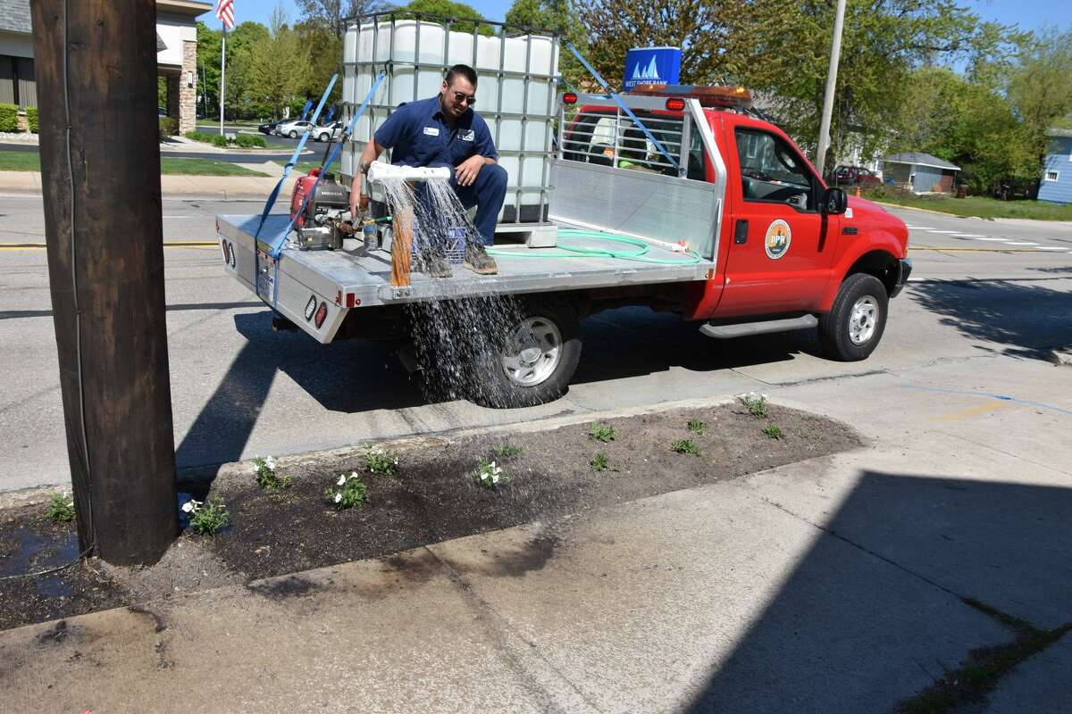 A Manistee Department of Public Works truck could be seen making the rounds and watering the newly planted petunias along Cypress Street on Tuesday morning.