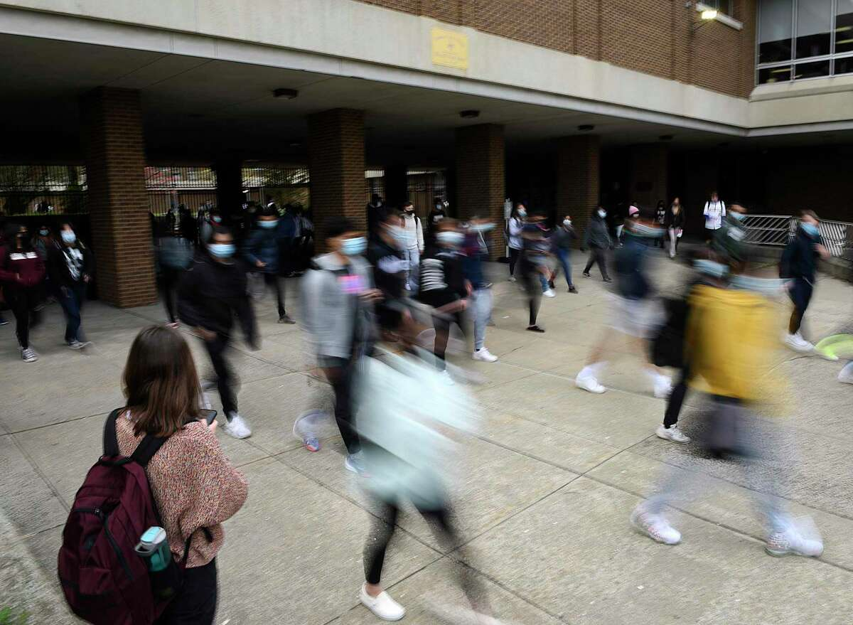 For the first time in the 2020-2021 school year, students returned to a full-time in-person schedule at Westhill High School in Stamford, Conn. Monday, April 19, 2021.
