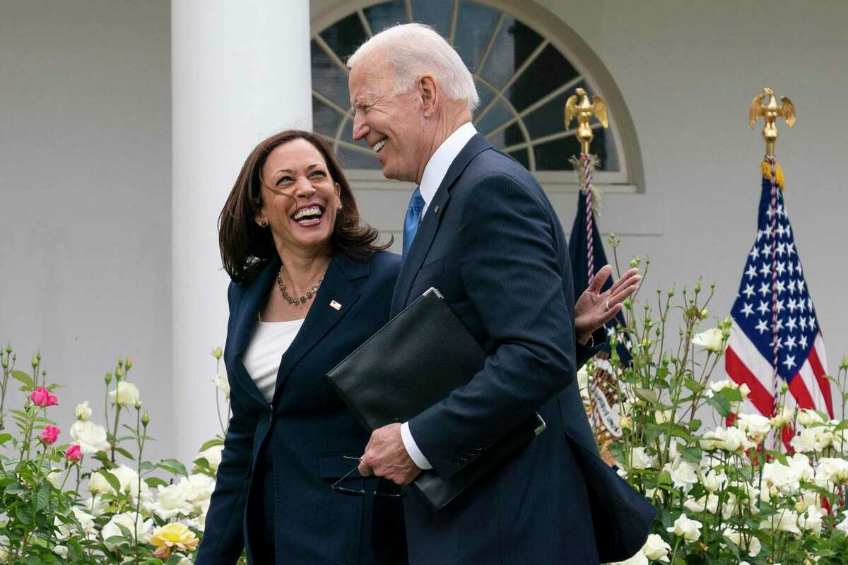 Vice President Kamala Harris and President Joe Biden smile and walk off after speaking about updated guidance on mask mandates. Progress in the fight against COVID abounds, but recent CDC guidance on masks is confusing.