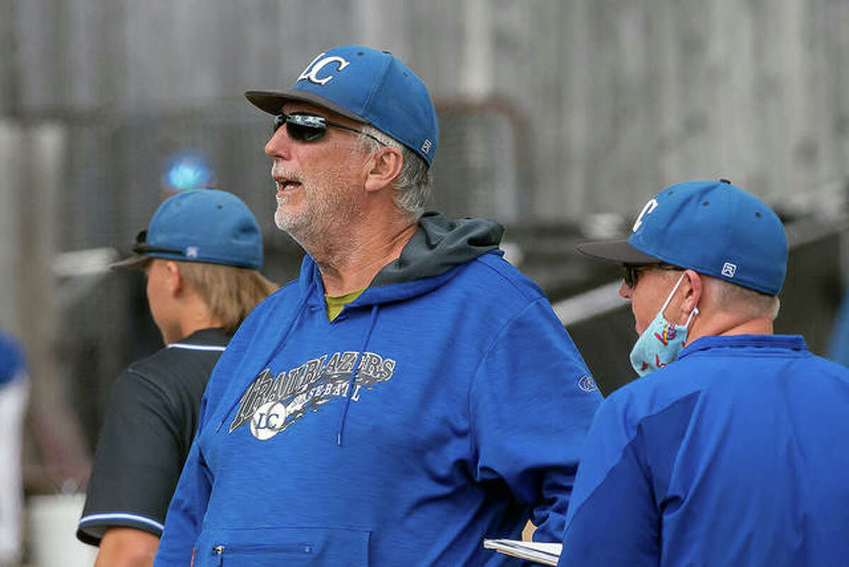 Lewis and Clark Community College baseball coach Randy Martz watches the action from the dugout earlier this season. The Trailblazers fell short of qualifying for the playoffs in Martz's final season as coach. He is retiring after 34 years at LCCC.