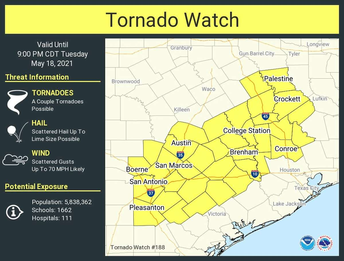 A Tornado Watch has been issued for the San Antonio area until 9 p.m. on Tuesday.