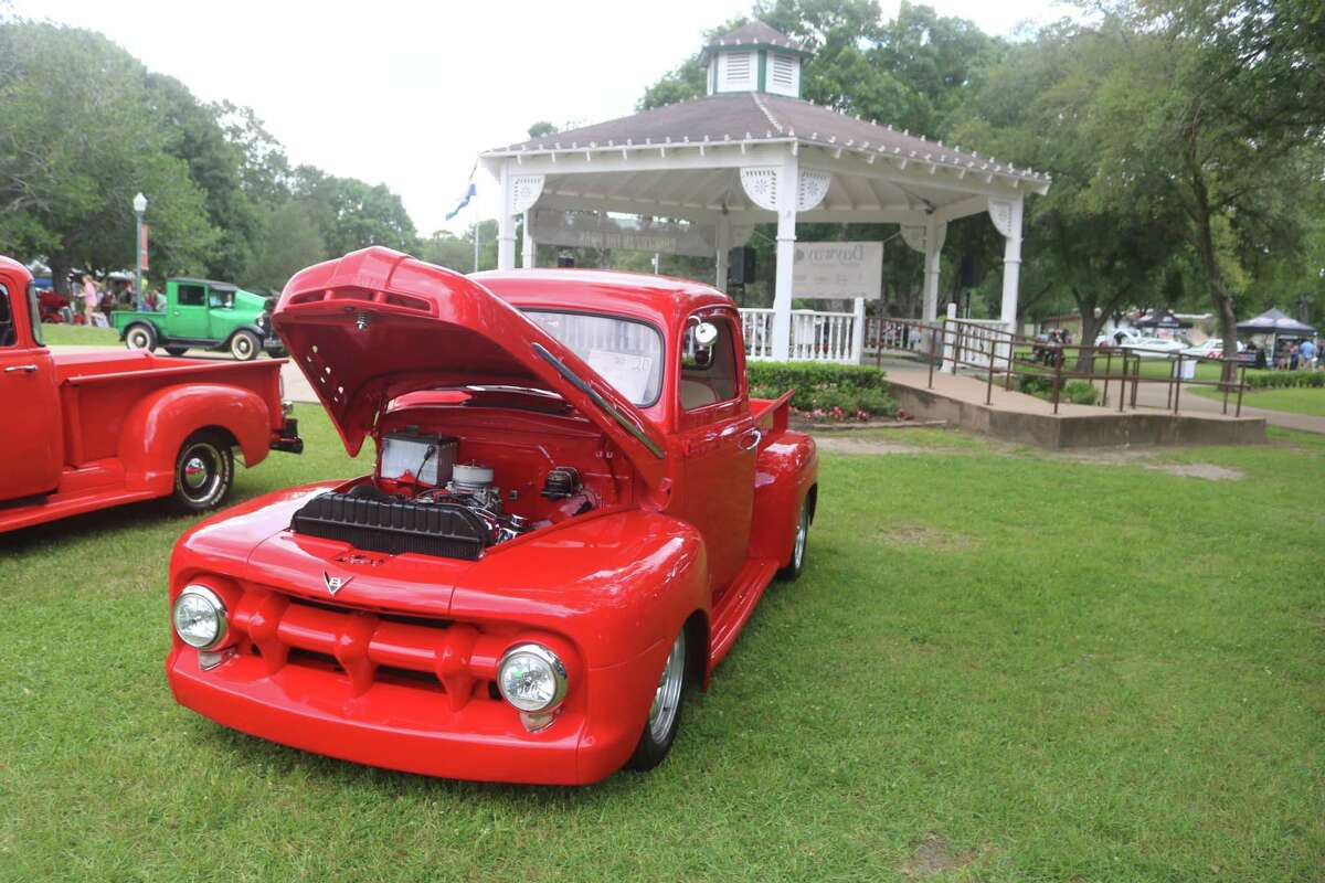 Friendswood resident Frank Taylor displayed his radiant red 1951 Ford pickup truck at Saturday's show.