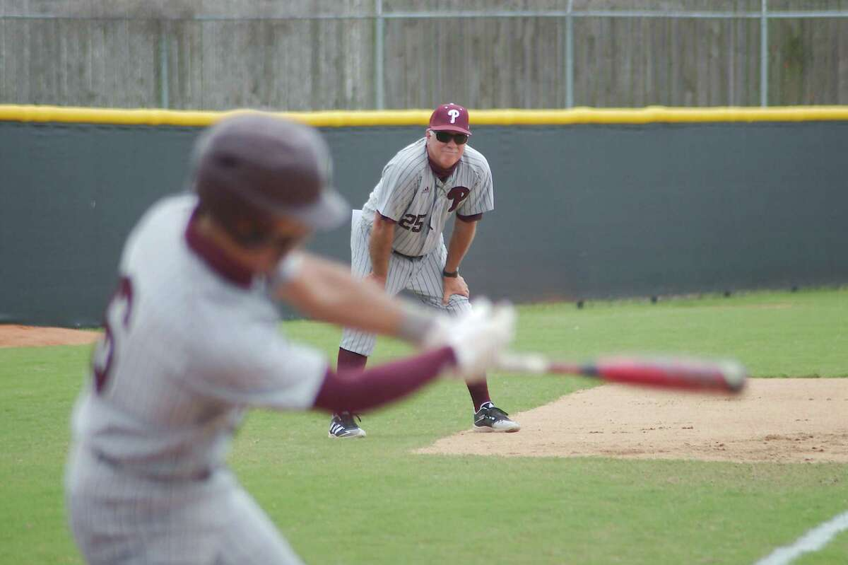 Pearland baseball coach David Rogers watches as Pearland's Cameron Ponce (6) bats against Clear Brook. The Oilers take on Galena Park North Shore in the Class 6A playoffs beginning Thursday at the University of Houston.