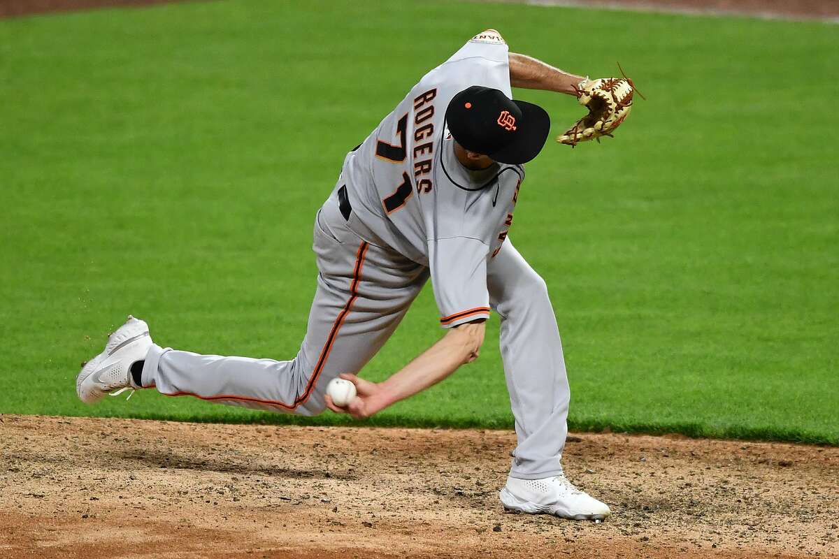 CINCINNATI, OH - MAY 17: Tyler Rogers #71 of the San Francisco Giants pitches in the ninth inning against the Cincinnati Reds at Great American Ball Park on May 17, 2021 in Cincinnati, Ohio. San Francisco defeated Cincinnati 6-3. (Photo by Jamie Sabau/Getty Images)