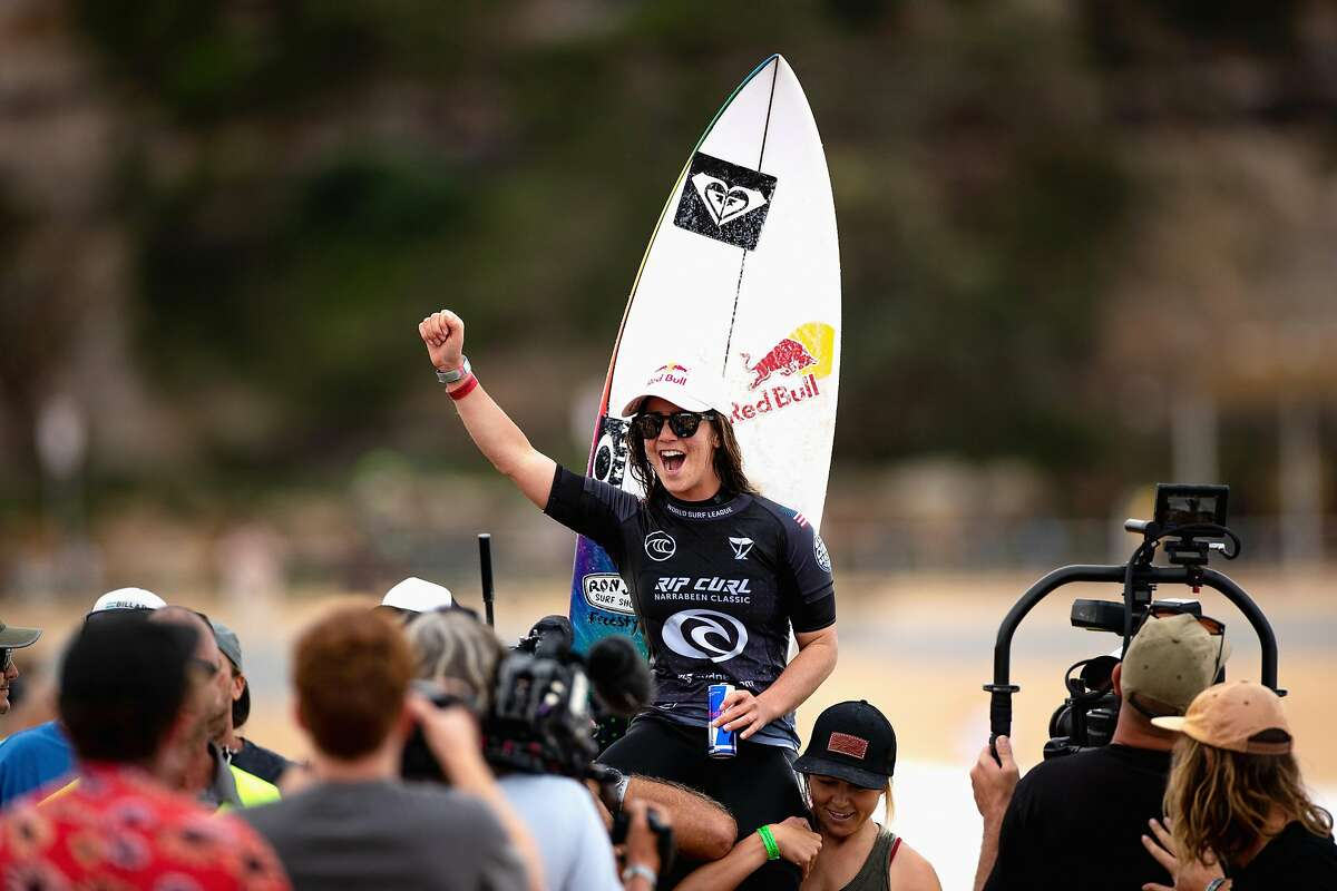 SYDNEY, AUSTRALIA - APRIL 20: Caroline Marks of the United States celebrates winning the final of the Rip Curl Narrabeen Classic against Tatiana Weston-Webb of Brazil at Narrabeen Beach on April 20, 2021 in Sydney, Australia. (Photo by Cameron Spencer/Getty Images)
