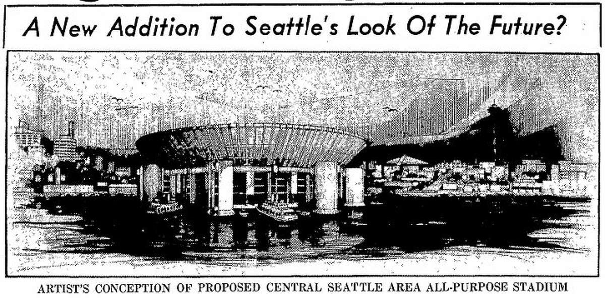 Photo of the proposed floating stadium in the March 5, 1963 edition of the Post-Intelligencer