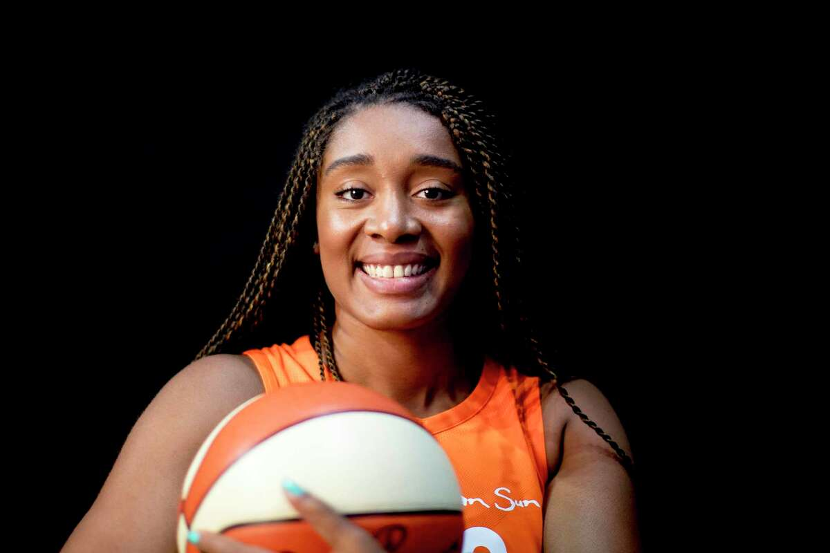 A portrait of basketball player Morgan Tuck of the Connecticut Sun at Mohegan Sun Arena on May 2, 2018 in Uncasville, Conn.