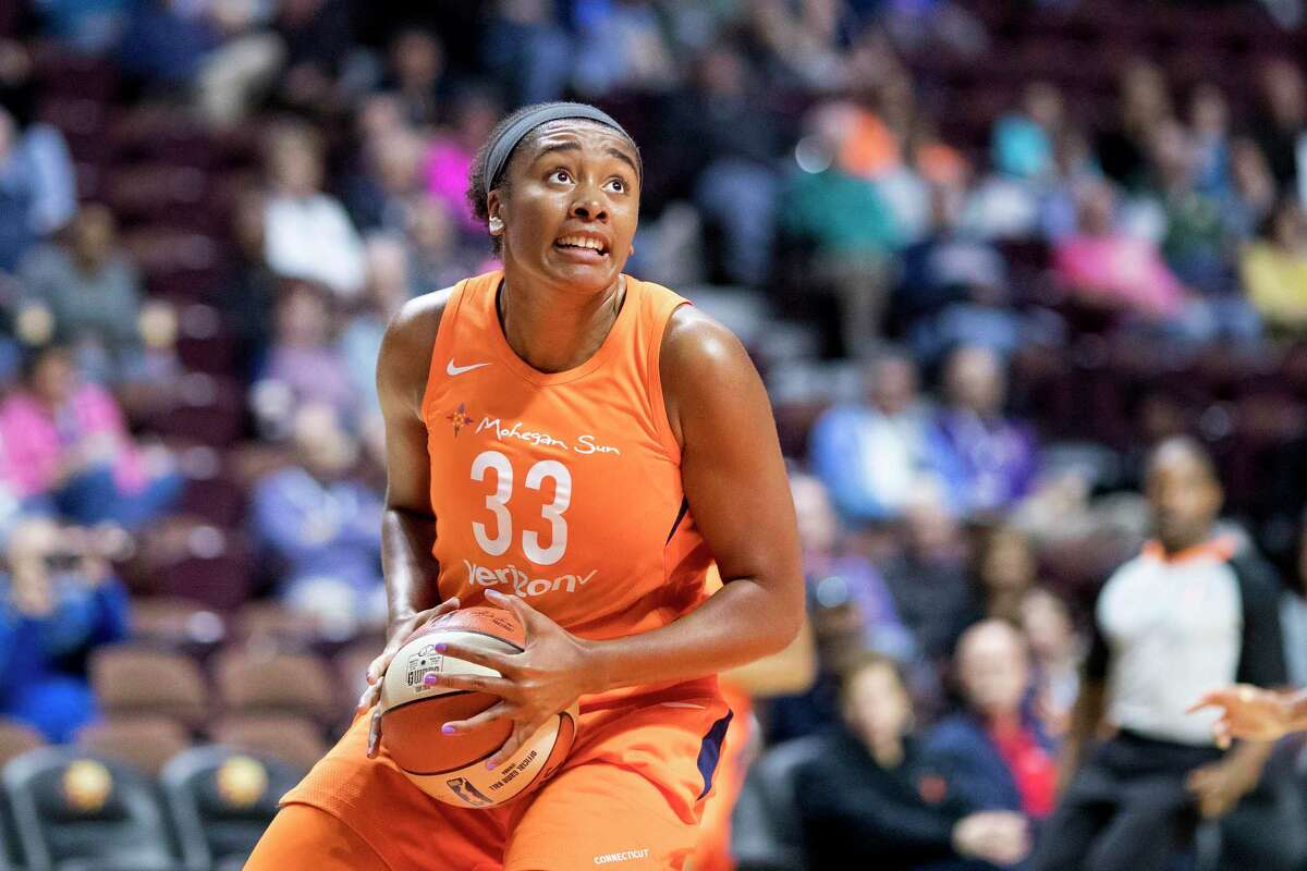 Morgan Tuck of the Connecticut Sun in action against the Los Angeles Sparks in a WNBA preseason game at Mohegan Sun Arena on May 7, 2018 in Uncasville, Conn.