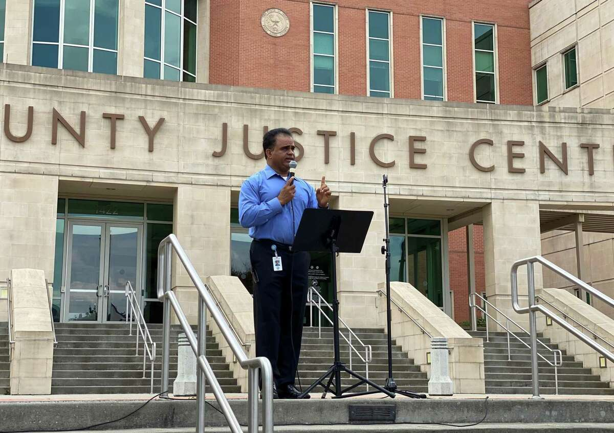 Fort Bend County Judge KP George speaks during the Unity Against Hate Rally at the Fort Bend County Justice Center in Sugar Land on Saturday, May 15, 2021.