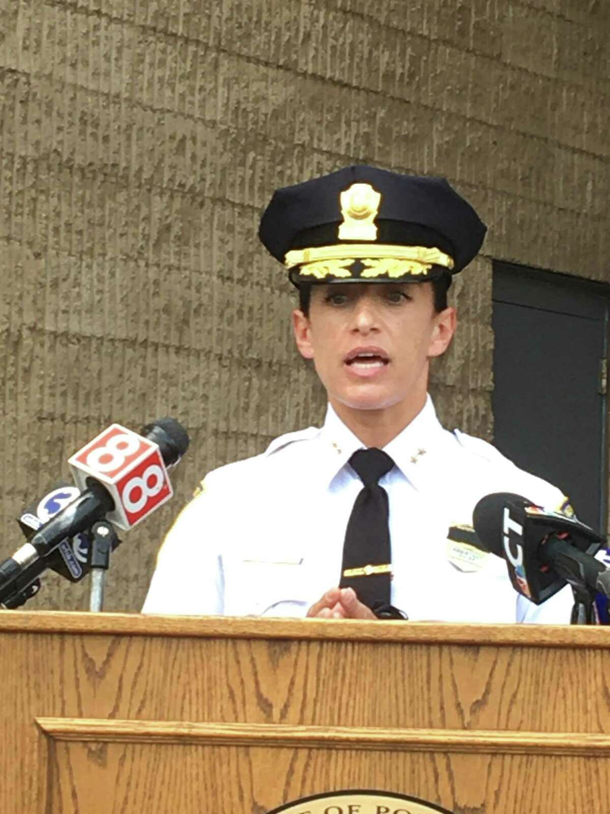 New Haven acting Chief of Police Renee Dominguez speaks about the early-morning shooting death of Jack Hopeton, 44, of Waterbury on Tuesday, May 18, 2021. The shooting death was New Haven's 11th homicide of 2021. Dominguez spoke at a press conference on the front steps of Police Headquarters, 1 Union Ave., joined by Mayor Justin Elicker and Assistant Chief Karl Jacobson.