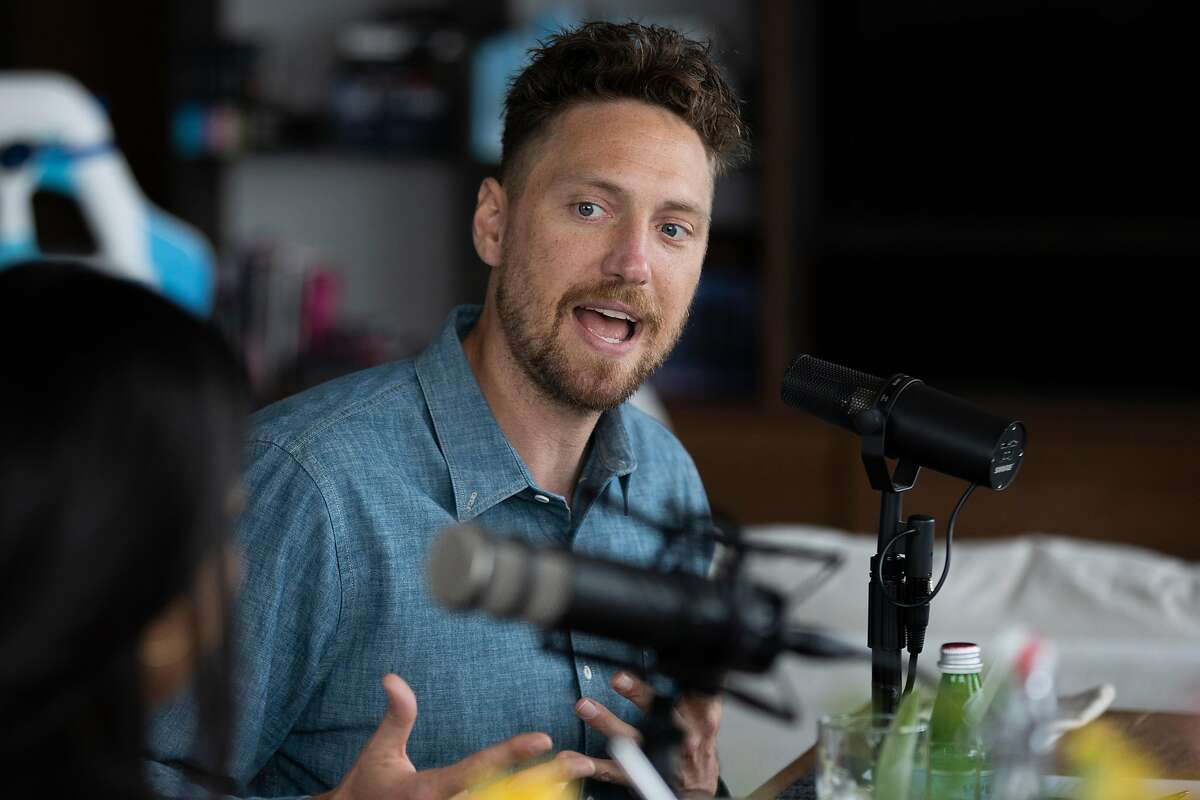 Above: Lexi and Hunter Pence xxxxx From left: Alexis Pence and Hunter Pence at their home record a San Francisco Chronicle podcast with hosts Peter Hartlaub and Heather Knight, Friday, May 14, 2021, in San Francisco, Calif. Hunter, a former baseball star with the San Francisco Giants, and his spouse Alexis, a coffee entrepreneur, are opening a new coffee shop.