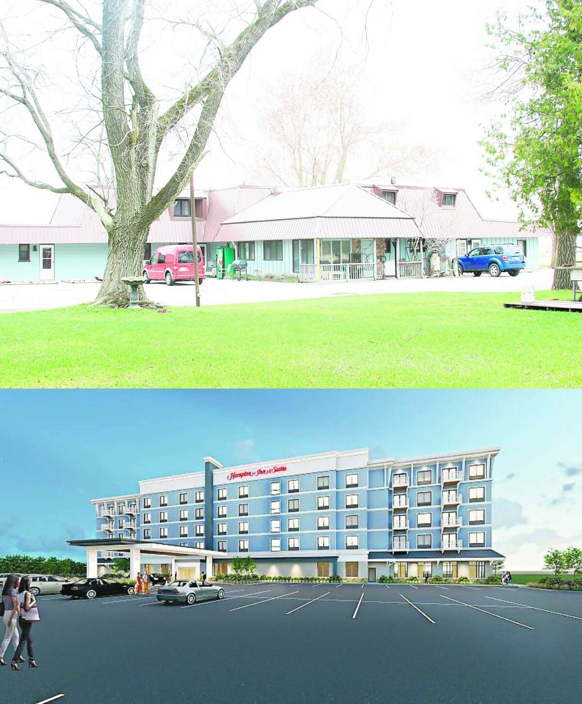 The Manistee Planning Commission will hold a public hearing on Thursday for the proposed hotel on Lakeshore Drive. Pictured on top is a portion of the current Lakeshore Motel, below is a rendering of the proposed Hampton Inn.