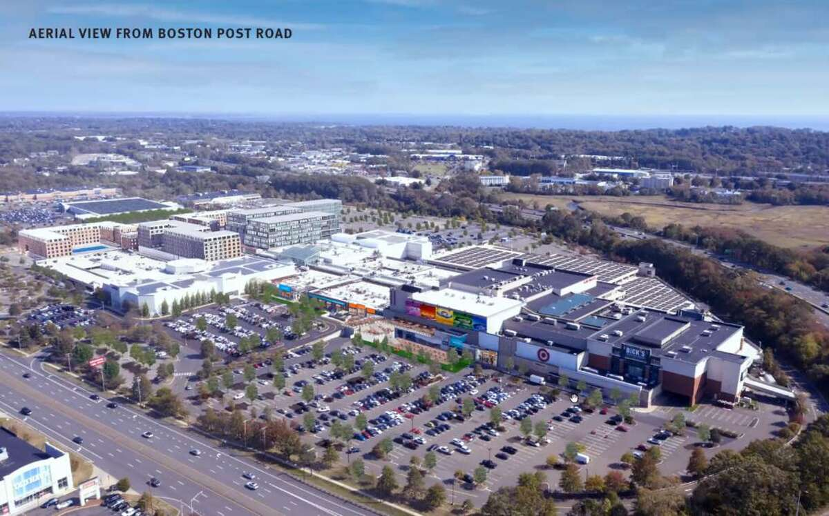 An artist rendering of Centennial's master plan for the Connecticut Post Mall property, viewed from Boston Post Road.