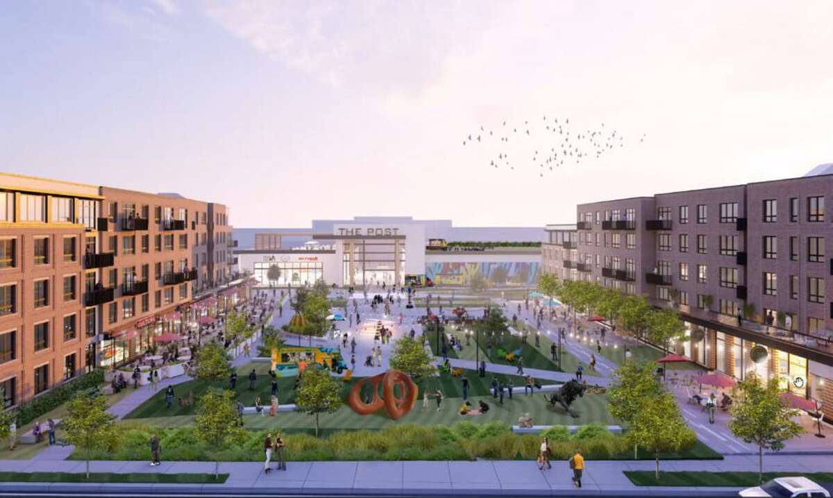 An artist rendering of the proposed Phase 1 redevelopment of the Connecticut Post Mall, viewed from East Town Road.