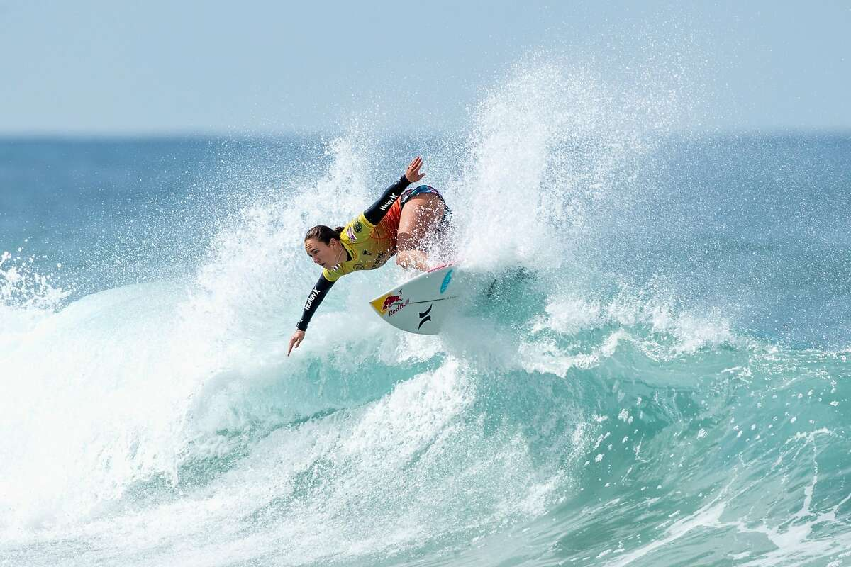 SYDNEY, AUSTRALIA - APRIL 20: Carissa Moore of the United States competes in the semi-final of the Rip Curl Narrabeen Classic against Tatiana Weston-Webb of Brazil at Narrabeen Beach on April 20, 2021 in Sydney, Australia. (Photo by Cameron Spencer/Getty Images)