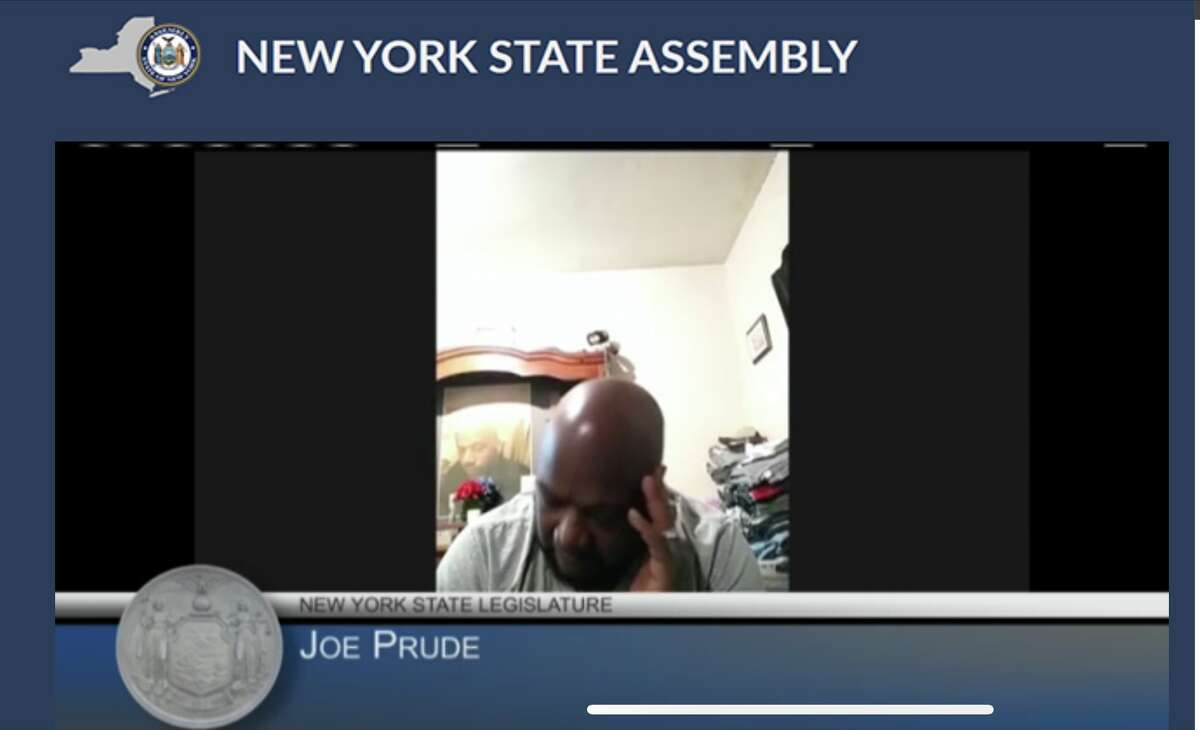 Joe Prude speaks at a joint legislative hearing on Tuesday, May 18, 2021 examining New York's overwhelmed mental health system.