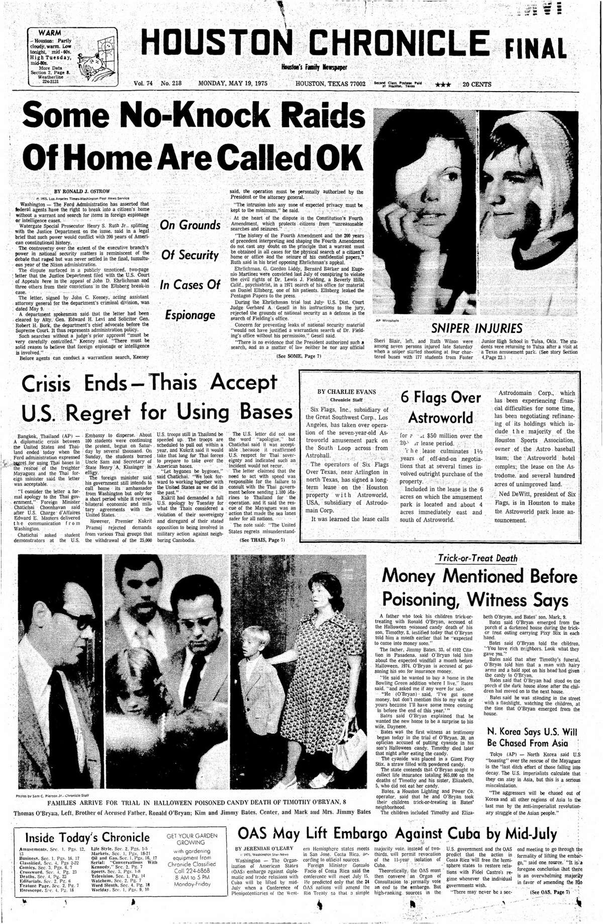 Houston Chronicle front page from May 19, 1975.