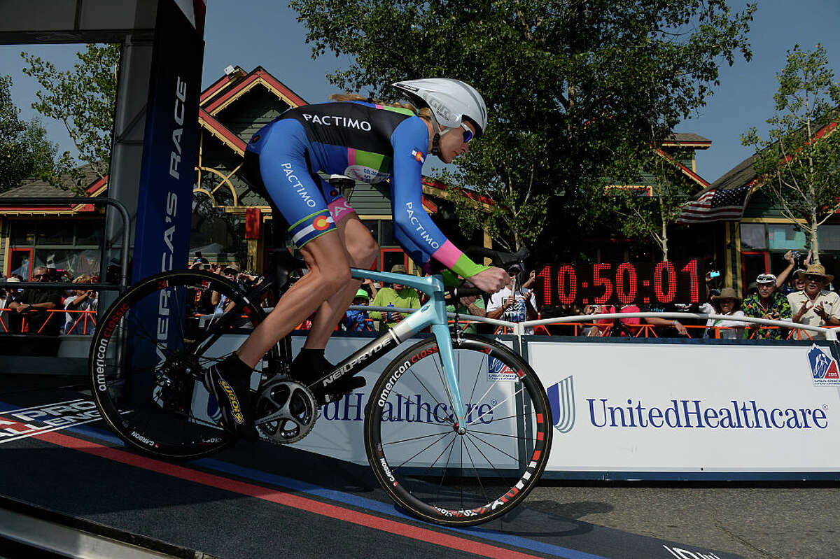 FILE -- Pro racer Gwen Inglis, was first to head down the start ramp for the inaugural Women's USA Pro Challenge time trial race August 21, 2015, in Breckenridge, Colo. (Photo by Andy Cross/The Denver Post via Getty Images