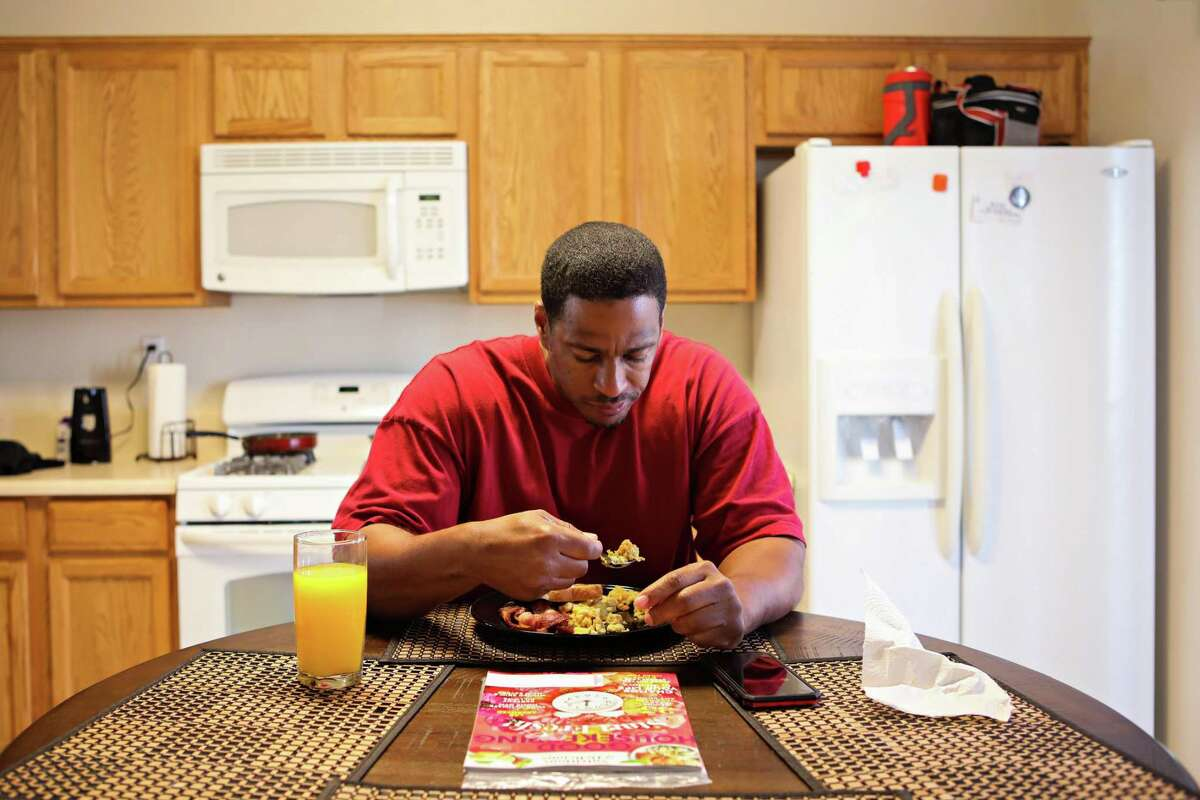 Jeremy Puckett, who spent nearly two decades behind bars for a murder he didn't commit, in his Sacramento home last March.