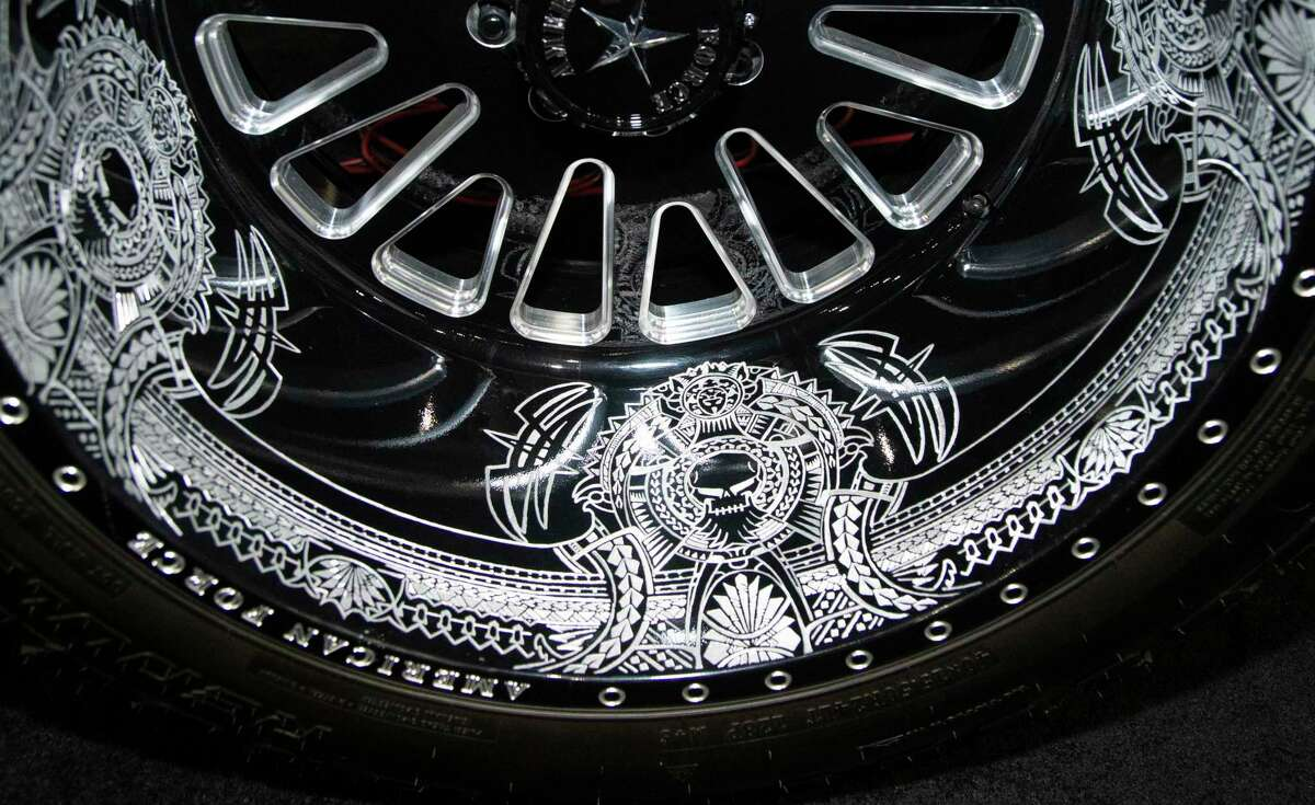 A customized wheel done by hands is photographed at the Houston Auto Show Tuesday, May 18, 2021, at NRG Center in Houston. The show opens on Wednesday, May 19 to Sunday, May 23.