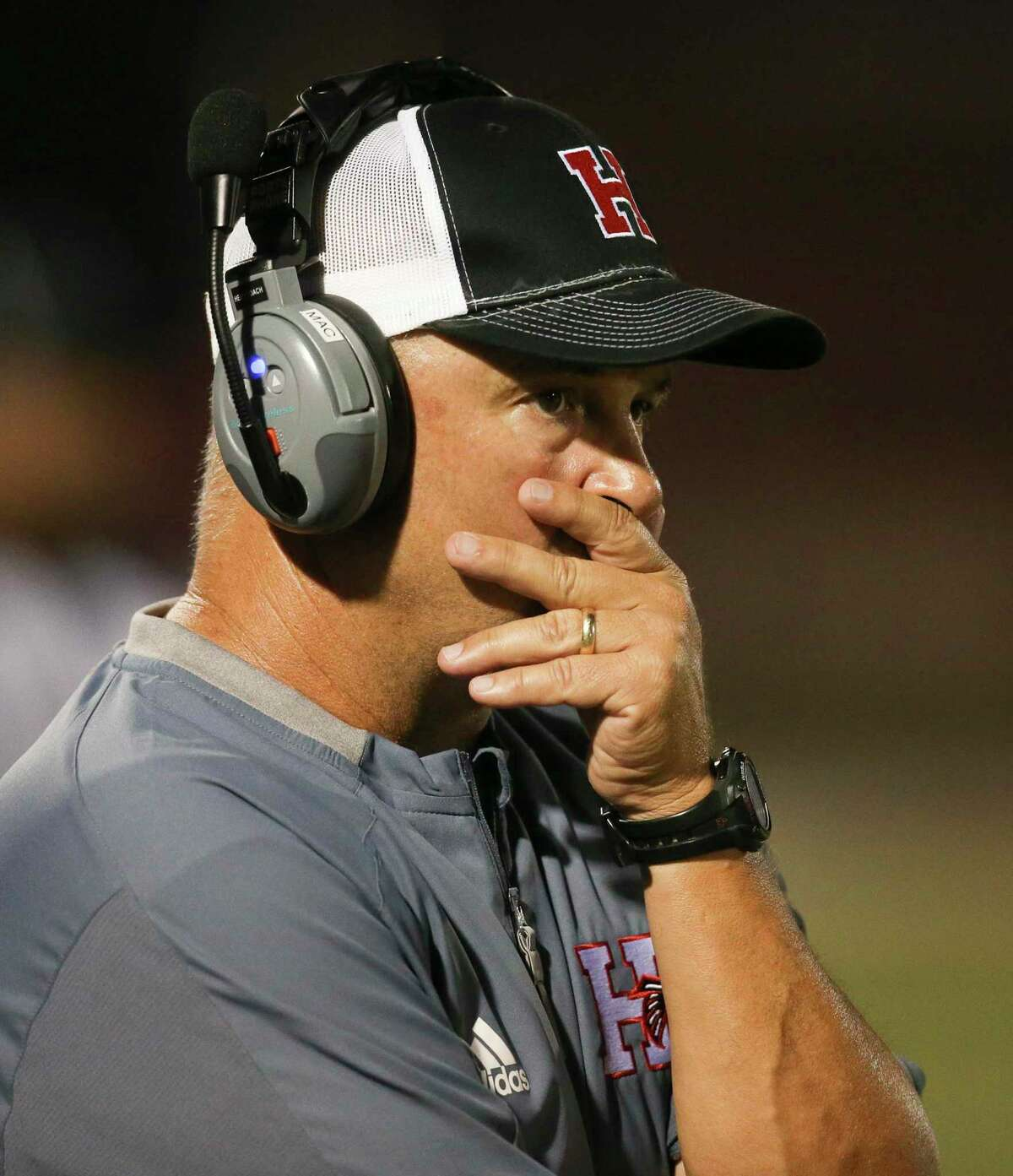 Huffman head coach Mike McEachern watches play against Worthing in the first half on September 13, 2019 at Hargrave High School in Huffman, TX.