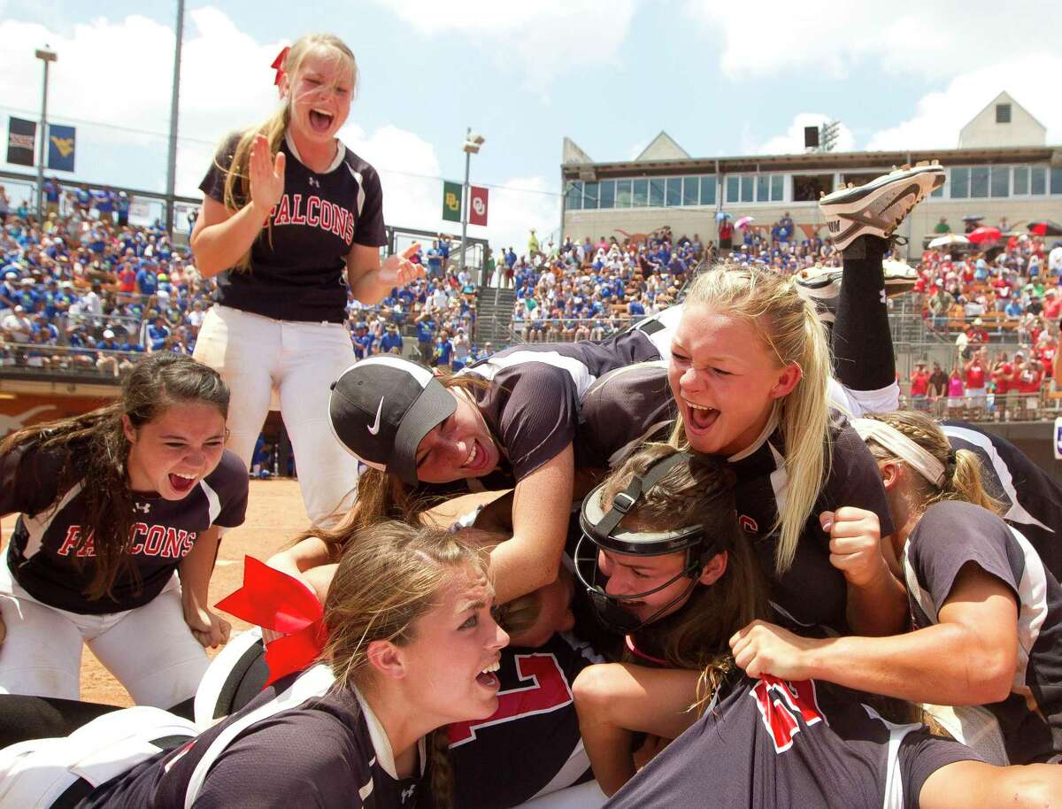 Huffman celebrates after defeating Needville to win the Class 4A state title during UIL State Softball Championships in Austin, Texas. (Jason Fochtman/Conroe Courier via AP)