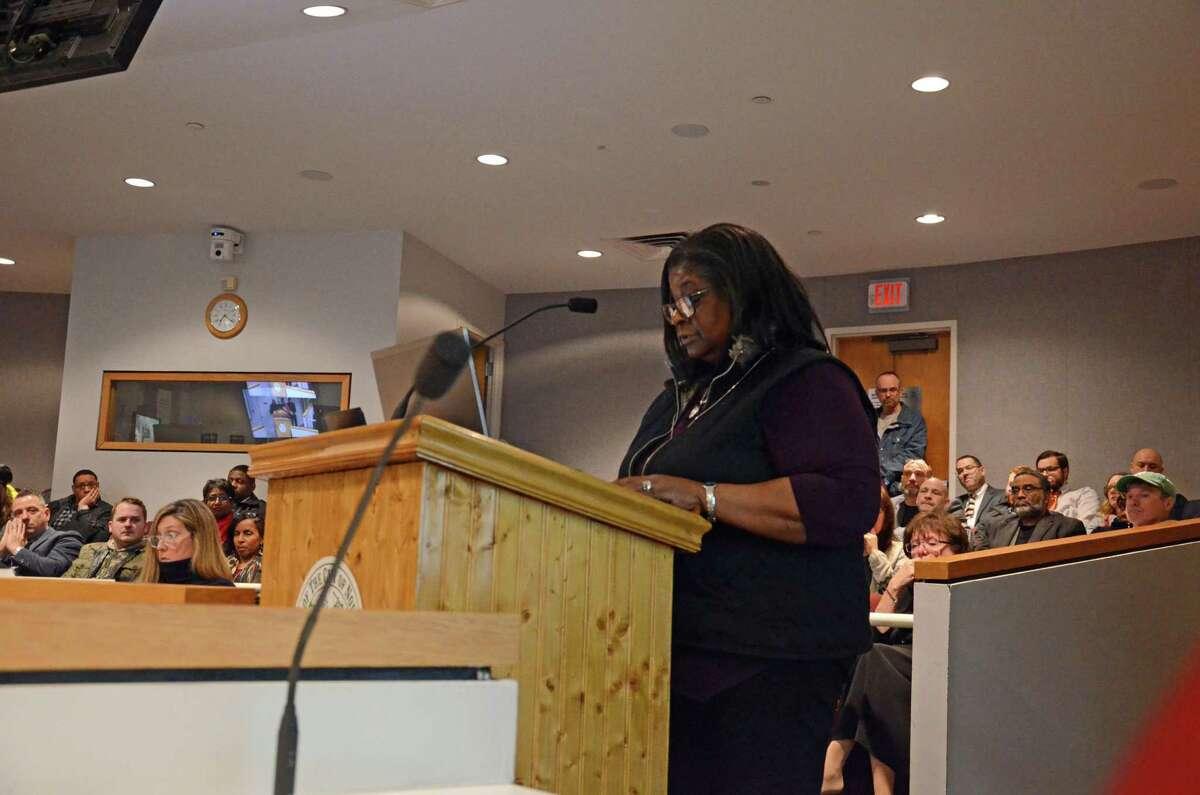 Brenda Penn-Williams, NAACP Norwalk branch president, speaks at a Board of Education meeting on Tuesday, Feb 19.