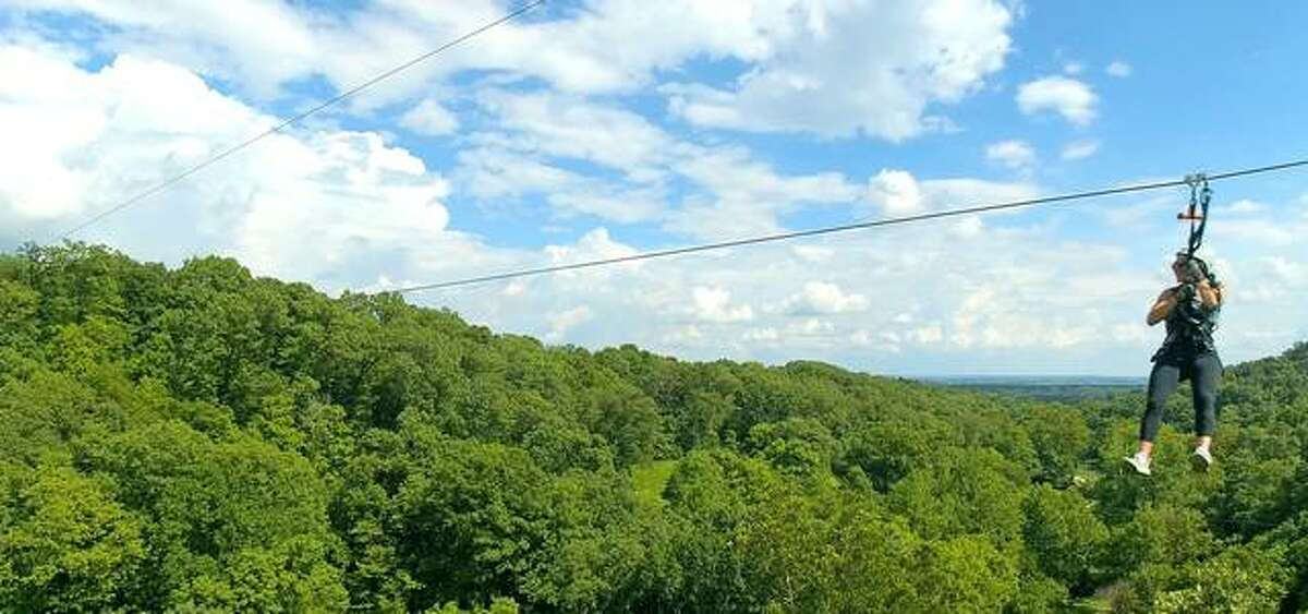 """The Grafton Zipline at the Aerie's Resort in Jersey County is one of the attractions highlighted in a new multi-state tourism campaign, """"Greatness Around Every Turn,"""" launched Monday by the Great Rivers & Routes Tourism Bureau of Southwest Illinois."""