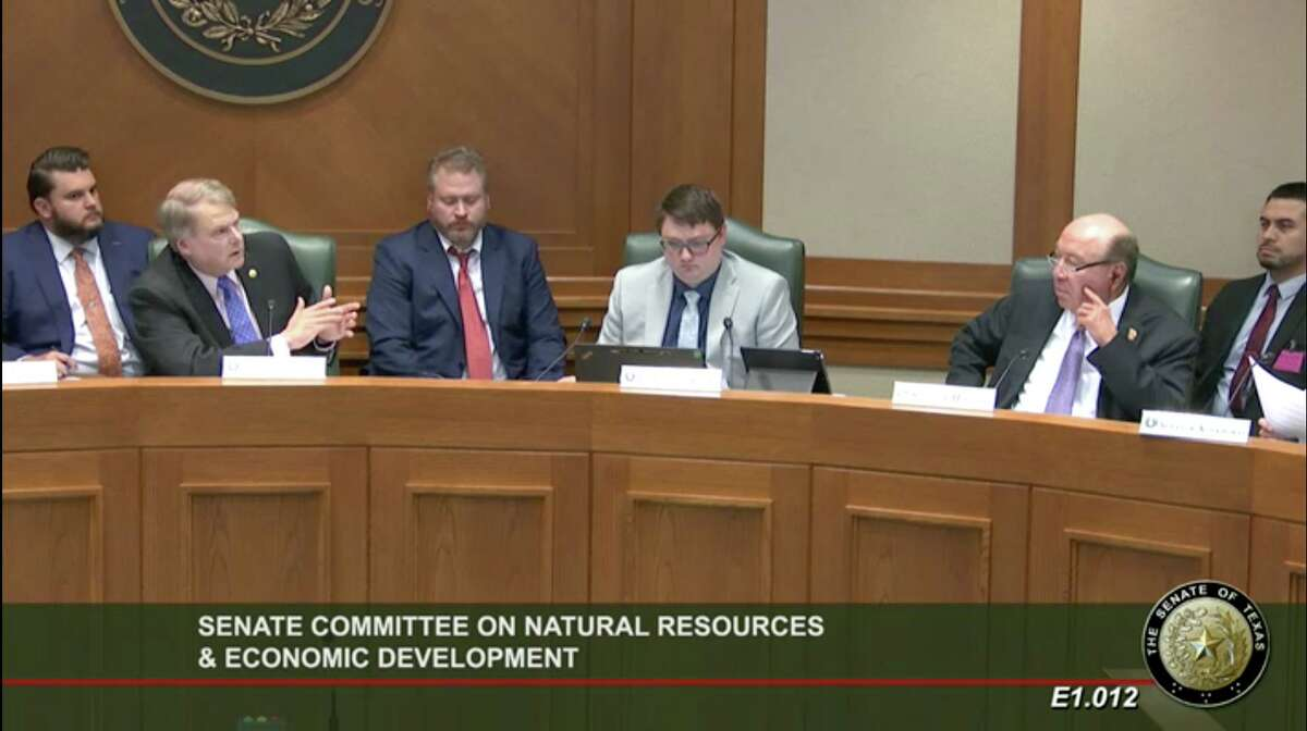State Sen. Brian Birdwell, second from left, discusses the Chapter 313 tax incentive program at a hearing of the Senate Committee on Natural Resources and Economic Development on May 18, 2021.