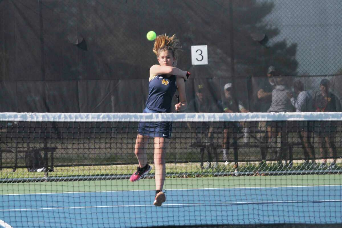 Manistee's Johanna Seibert is undefeated as the Chippewas' No. 1 singles player this season. The foreign exchange student from Germany will look to punch her ticket to the Division 4 state finals during this Thursday's regional. (Dylan Savela/News Advocate)