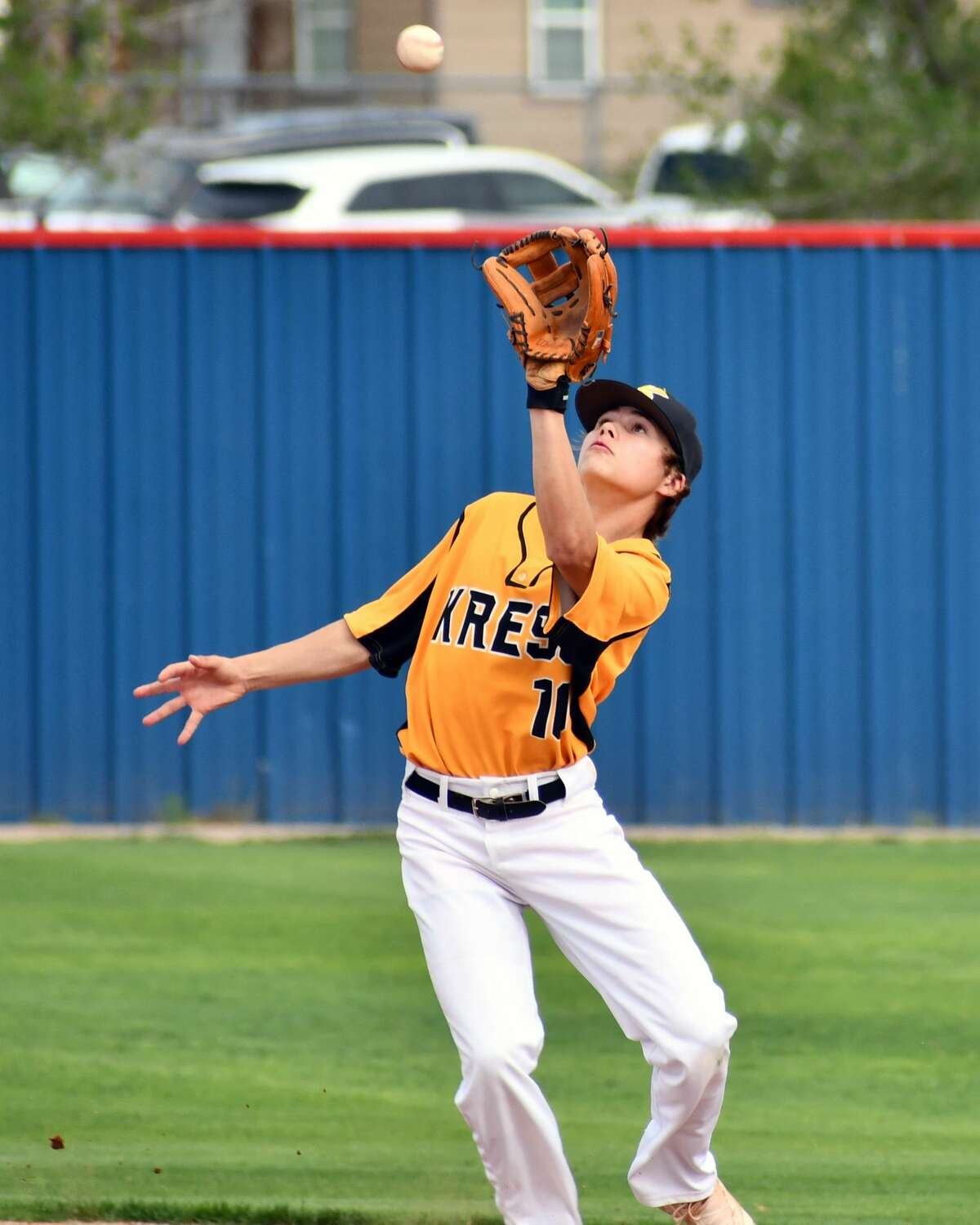 Kress' Landry Young awaits the catch of a popup during the Region 1-1A region semifinals against Nazareth on Tuesday at Bulldog Park in Plainview.