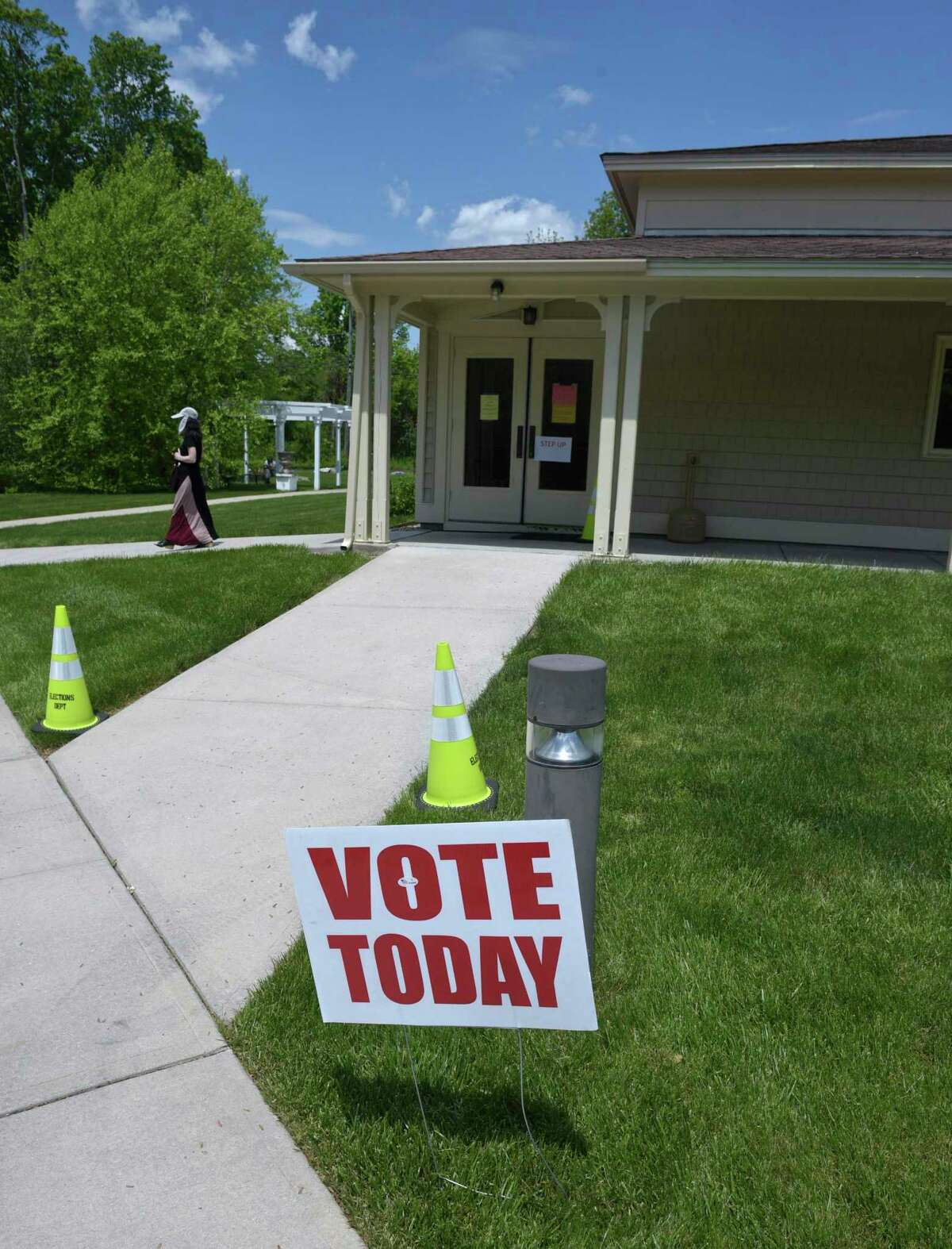 Voting in the Brookfield budget referendum at St Marguerite Bourgeoys Church. The church was used for voting because Huckleberry Hill Elementary School is under construction. Tuesday, May 18, 2021, in Brookfield, Conn.