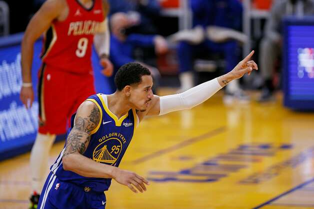 Golden State Warriors forward Juan Toscano-Anderson (95) after scoring on a layup in the first quarter of an NBA game against the New Orleans Pelicans at Chase Center, Friday, May 14, 2021, in San Francisco, Calif. Photo: Santiago Mejia, The Chronicle