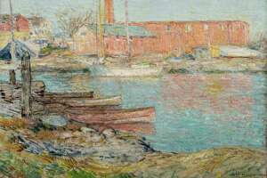 """Childe Hassam, """"The Red Mill, Cos Cob,"""" 1896. Oil on canvas. Greenwich Historical Society, Museum Purchase with funds from Susan and Jim Larkin, Sally and Larry Lawrence, Mr. and Mrs. Peter L. Malkin, Debbie and Russ Reynolds, Reba and Dave Williams, and Lily Downing and David Yudain."""