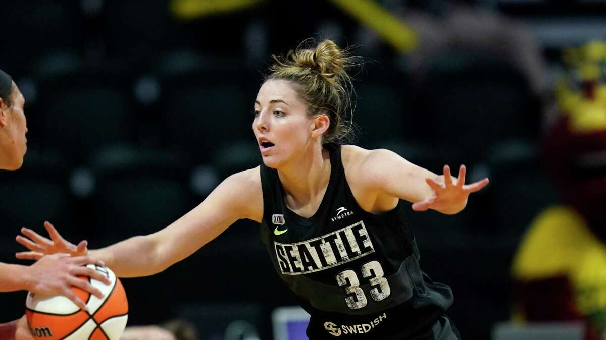 Seattle Storm's Katie Lou Samuelson in action against the Las Vegas Aces during a WNBA basketball game Saturday, May 15, 2021, in Everett, Wash. (AP Photo/Elaine Thompson)