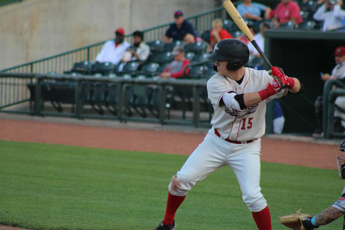 Loons left fielder Ryan Ward bats during a May 18, 2021 game against Lake County at Dow Diamond.