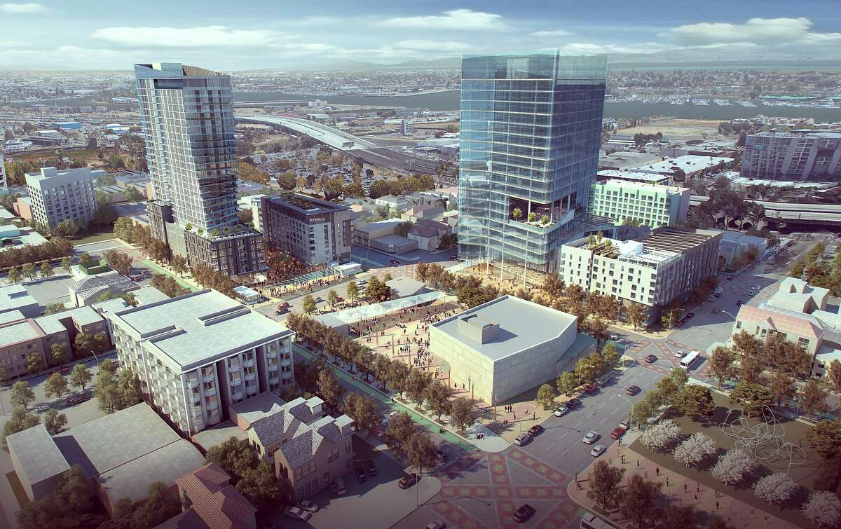 Early renderings of a massive development project proposed near the Lake Merritt BART Station. The planning commission will vote on a preliminary development plan that will include a 28-story high-rise and 19-story office building at the Lake Merritt BART Station.