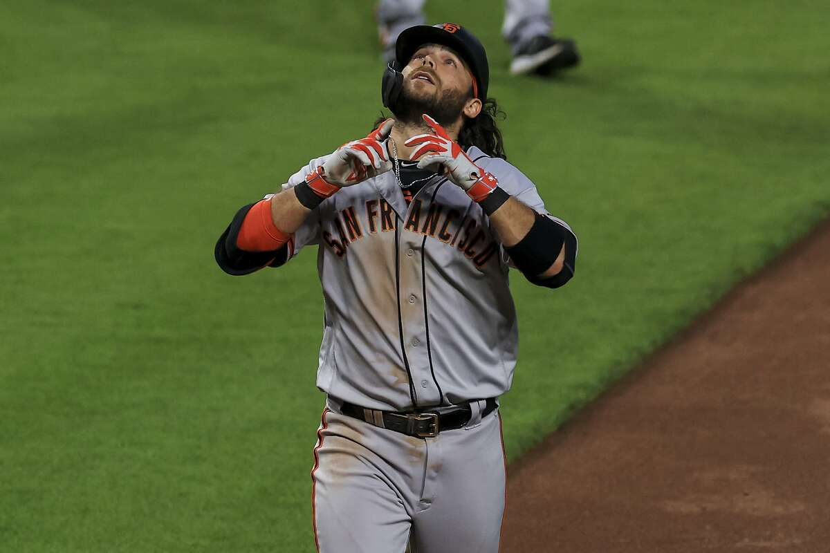 Brandon Crawford hit his 10th homer of the season in his 36th game, numbers the Giants haven't seen since Barry Bonds.