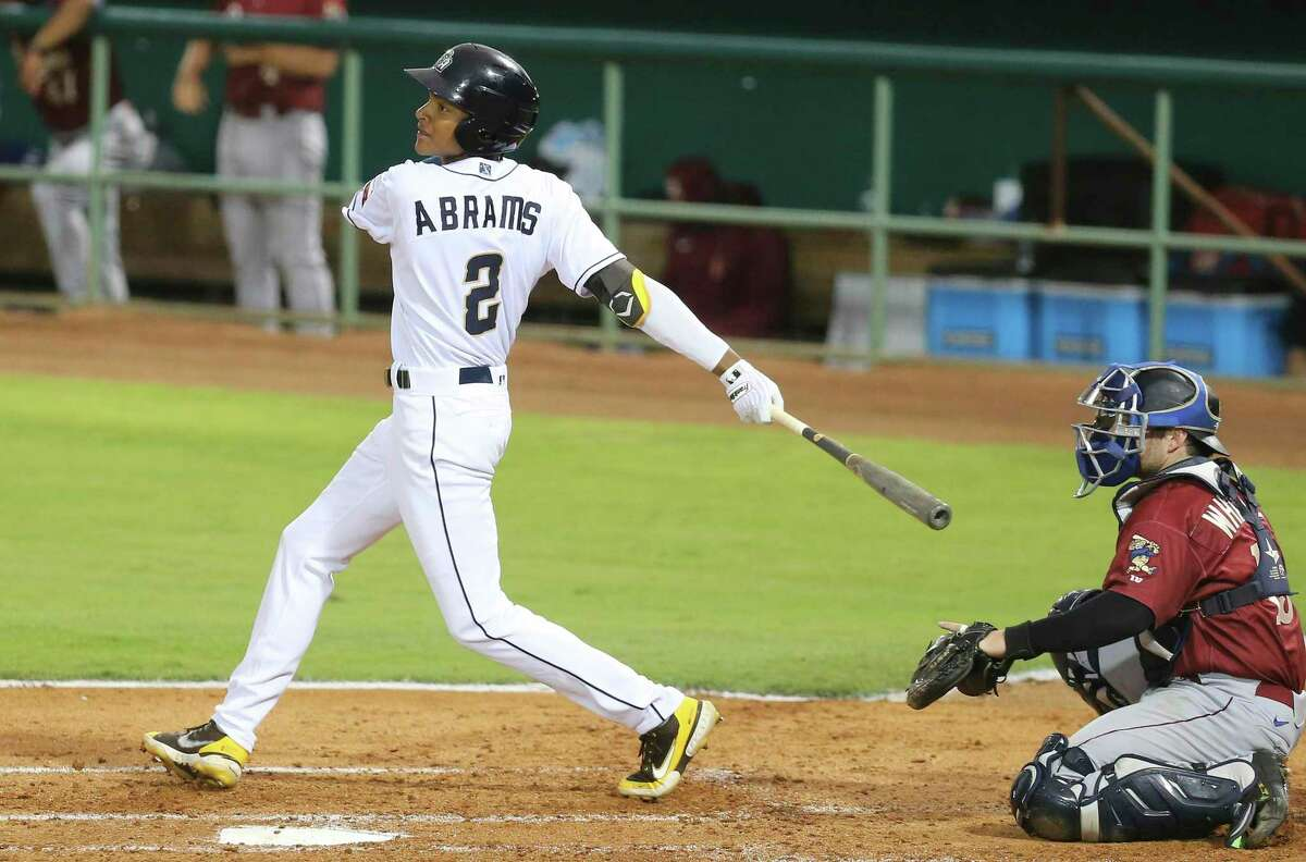 The Missions' CJ Abrams tracks his shot toward left field in the season home opener against the Frisco RoughRiders at Wolff Stadium on Tuesday, May 18, 2021.