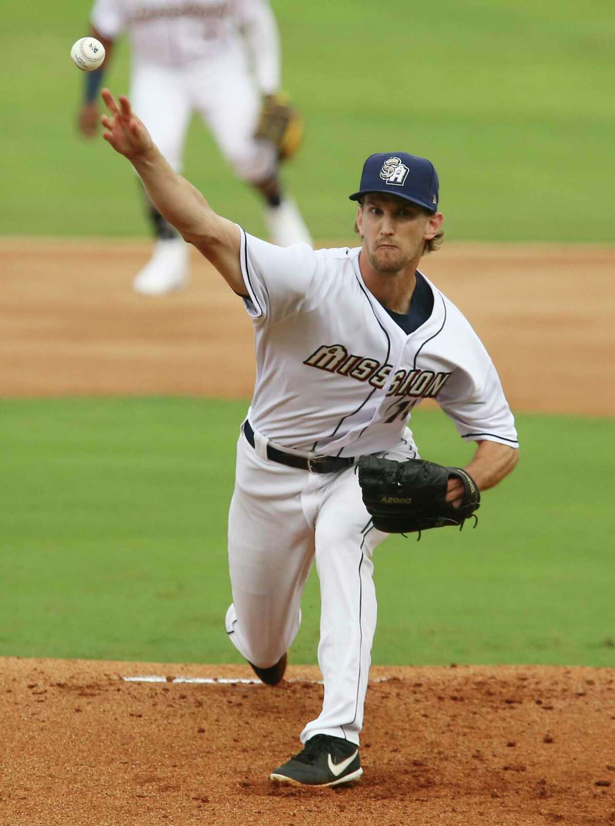 Missions pitcher Caleb Boushley (15) starts on the mound in the home opener against the Frisco Rough Riders at Wolff Stadium on Tuesday, May 18, 2021.