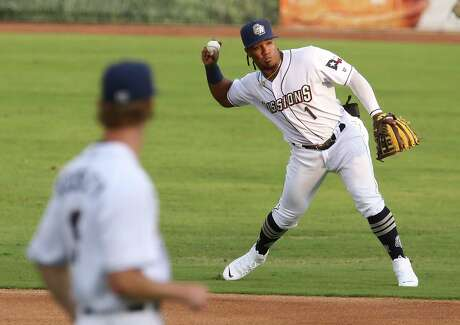 Missions infielder Eguy Rosario (01) makes a throw to first base during their season home opener against the Frisco RoughRiders at Wolff Stadium on Tuesday, May 18, 2021.
