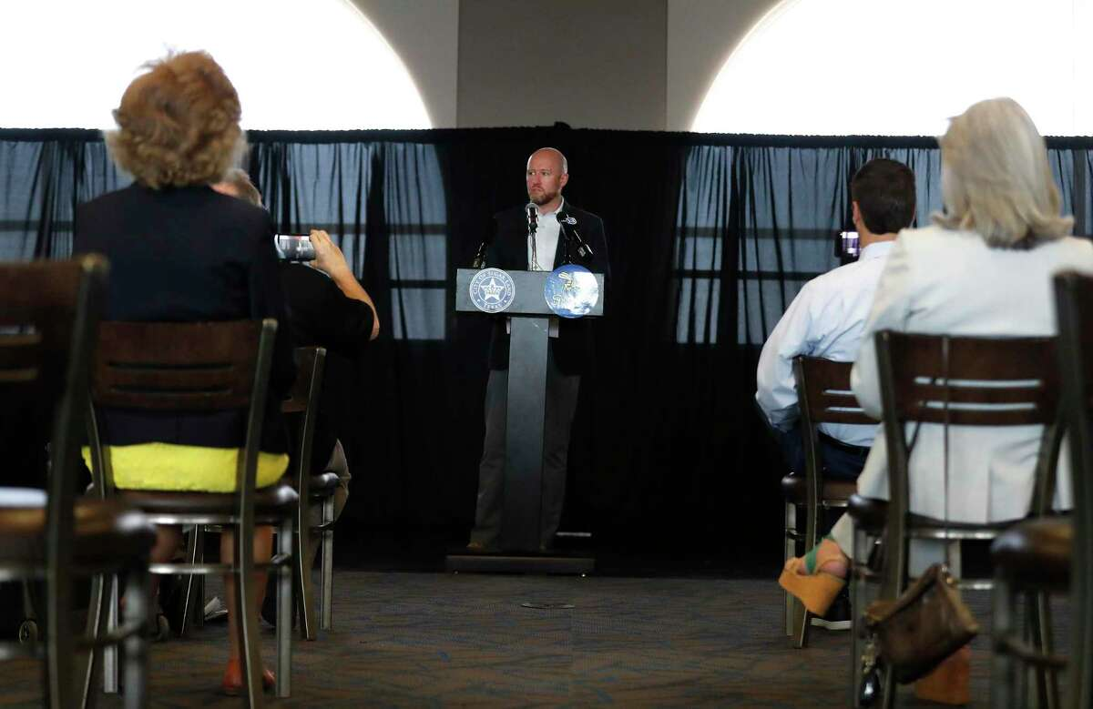 Houston Astros GM James Click speaks during the Sugar Land Skeeters' 2021 Media Day at Constellation Field, Tuesday, May 18, 2021, in Sugar Land. The Skeeters have become the new Astros Triple A affiliate.
