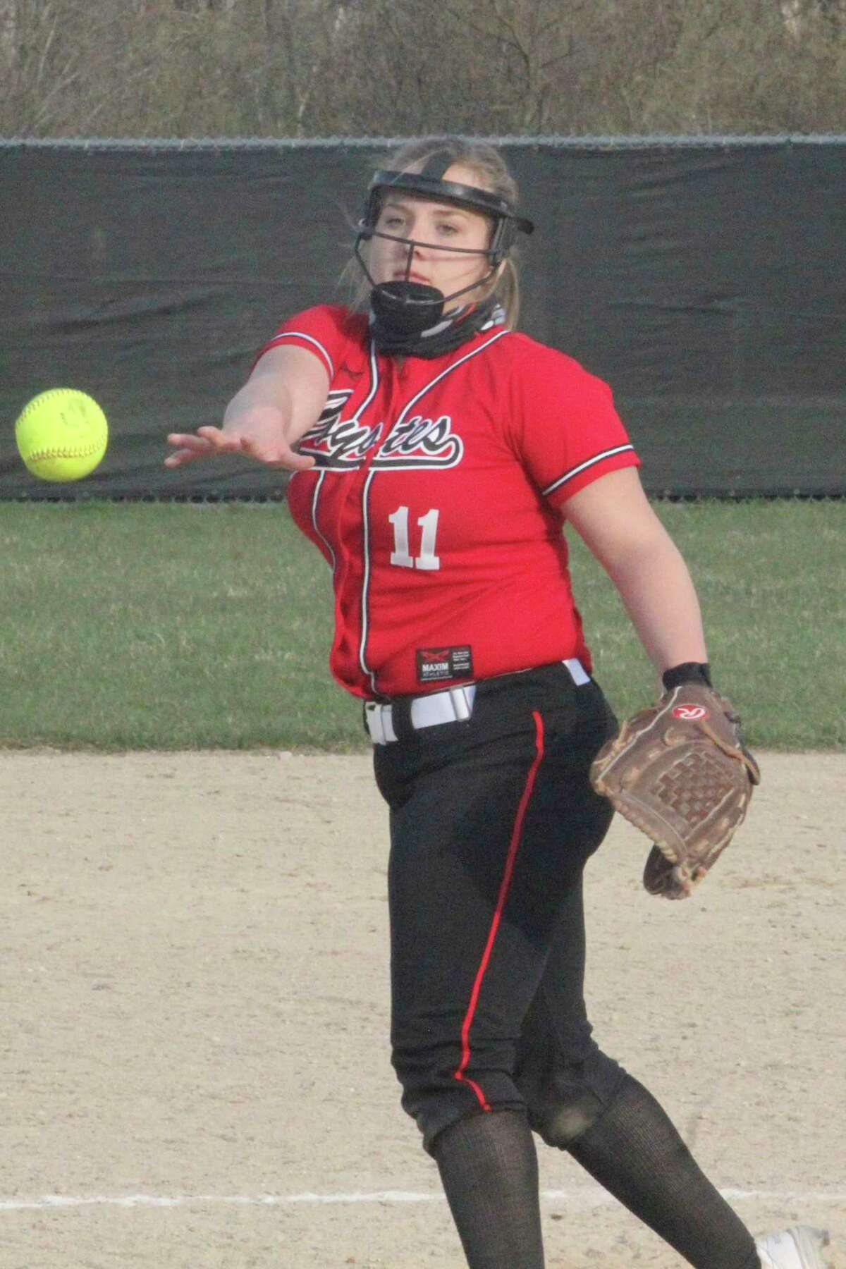 Reed City's Rylie Schafer delivers a pitch earlier this season. (Herald Review file photo)