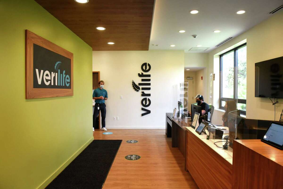 Check-in area at the Verilife cannabis dispensary on Tuesday, May 18, 2021, in Guilderland, N.Y. (Will Waldron/Times Union)