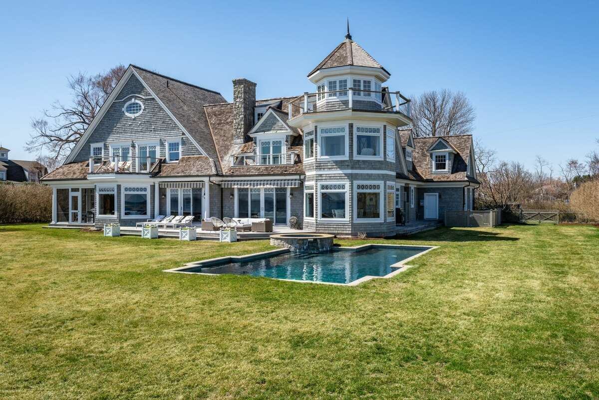 The house at at 8 Shorehaven Road in Norwalk is on the market for $6,995,000.